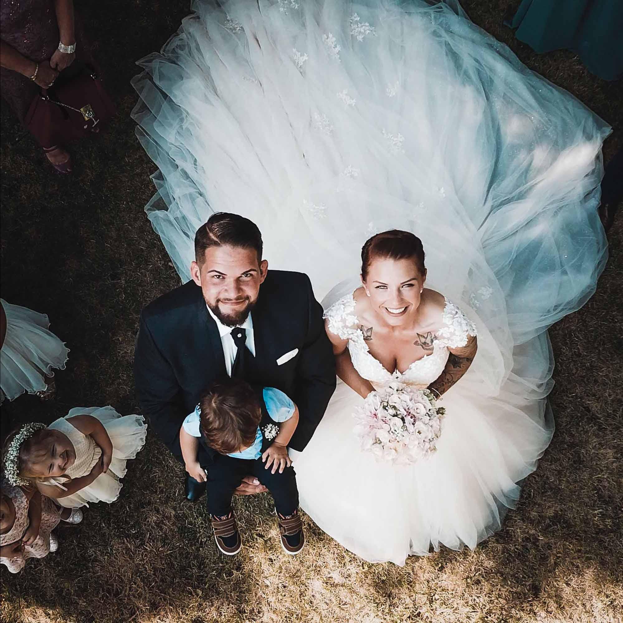 Drohne für Hochzeit, Hochzeitsfotos mit Drohne